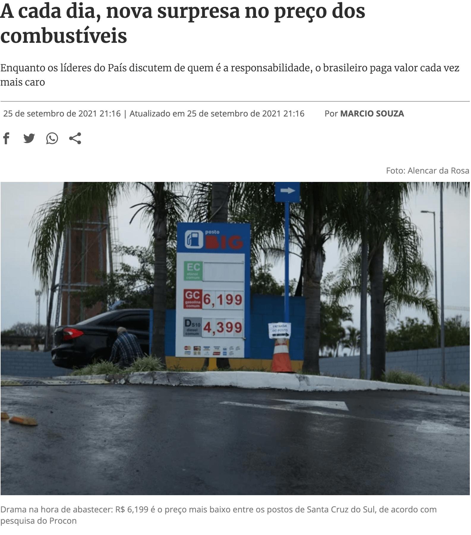A cada dia, nova surpresa no preço dos combustíveis